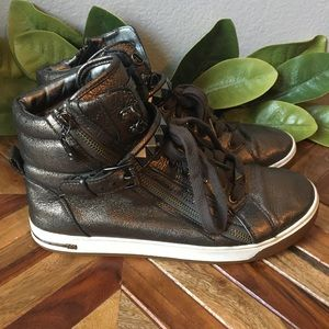 Michael Kors Pewter Studded High Top Sneakers